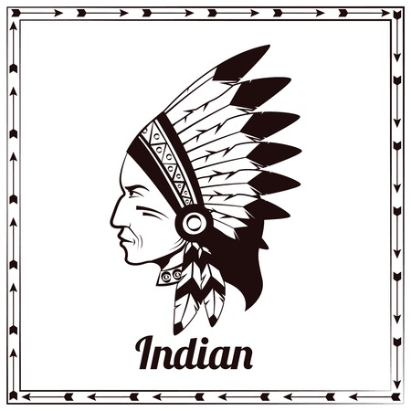indian family: American indian traditional head of clan chieftain ethnic tribe leader pictogram design black sketch abstract vector illustration Illustration