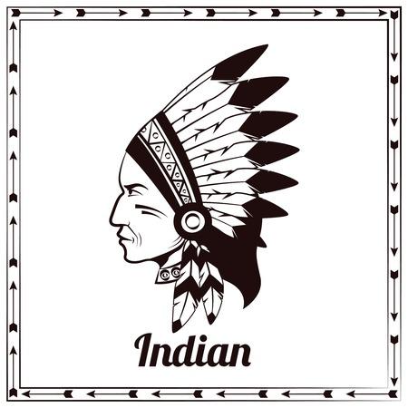 chieftain: Americano capo indiano tradizionale del clan capo capo trib� etnica pittogramma progettazione nero schizzo astratto illustrazione vettoriale