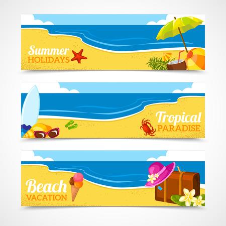 Banner horizontale set van reizen zomer strand kleurrijke tropische achtergronden geïsoleerd vector illustratie.