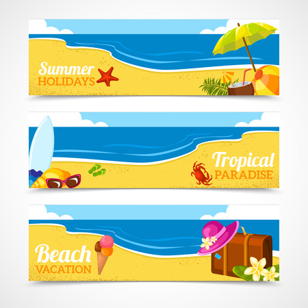 Banner horizontal set of travel summer beach colorful tropical backgrounds isolated vector illustration. Illustration