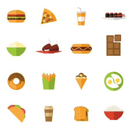 sandwich: Fast food icons set with donut sushi pizza sandwich isolated vector illustration