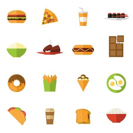 sandwich de pollo: Iconos de comida r�pida ubicado con aislados s�ndwich de pizza sushi rosquilla ilustraci�n vectorial