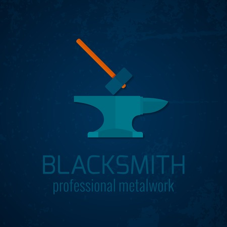 blacksmith shop: Blacksmith shop professional metalwork anvil hammer template decorative  icon background advertisement poster print blue abstract vector illustration