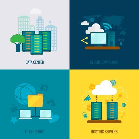 centre d affaires: Cloud Hosting fichiers utilisateurs des centres de donn�es de stockage supportent le service quatre ic�nes plates composition abstraite vecteur isol� illustrations Illustration