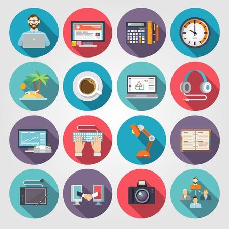 freelance: Freelance icon flat set with freelancer workflow business symbols isolated vector illustration
