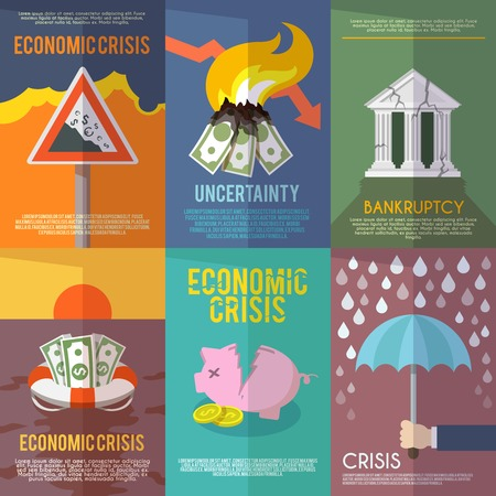 economic depression: Economic crisis mini poster set financial bankruptcy flat isolated vector illustration