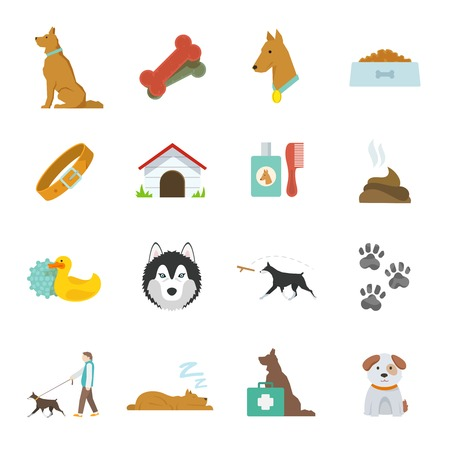 dung: Dog icons flat set with dung kennel leash food bowl isolated vector illustration