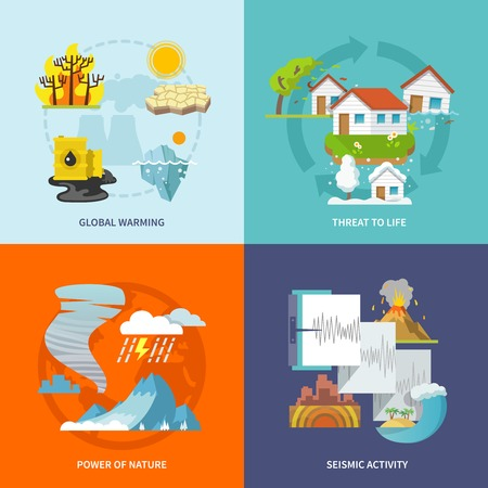 threat: Natural disaster design concept set with global warming life threat power of nature seismic activity flat icons isolated vector illustration Illustration