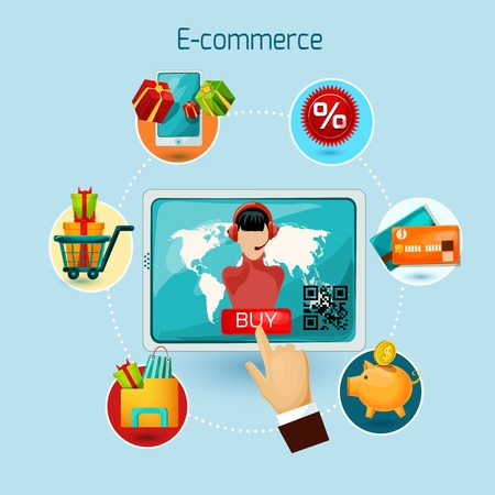 sale shop: E-commerce concept with tablet computer and online shopping decorative icons set vector illustration
