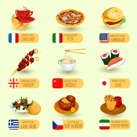 cuisine: World food international cuisine decorative icons set with pizza croissant hamburger isolated vector illustration Illustration