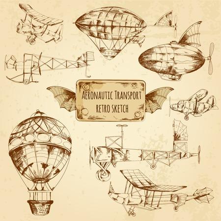 Retro aviation aeronautic transport sketch decorative icons set isolated vector illustration Illustration