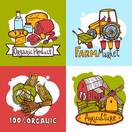 Agriculture design concept set with organic product farm market sketch icons isolated vector illustration Vector