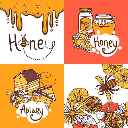 bee pollen: Honey design concept set with beekeeper apiary sketch icons isolated vector illustration Illustration