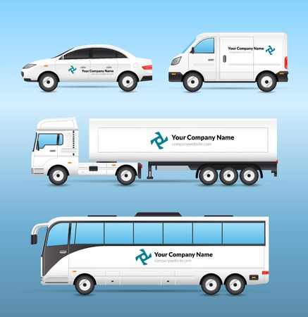 commercial van: Transport advertisement set with car van truck and tourist bus with advertising signs isolated vector illustration
