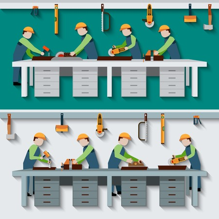 wood working: Carpentry workshop with carpenter timber workers with construction tools flat vector illustration