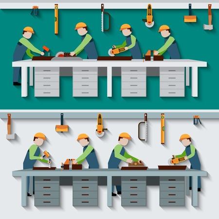 Taller de carpintería con los trabajadores de la madera carpintero con herramientas de construcción ilustración vectorial plana Ilustración de vector