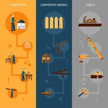 carpenter tools: Carpentry vertical banner set with carpenter work and tools flat elements isolated vector illustration