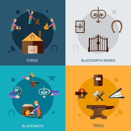 blacksmith: Blacksmith work design concept set with forging tools flat icons isolated vector illustration