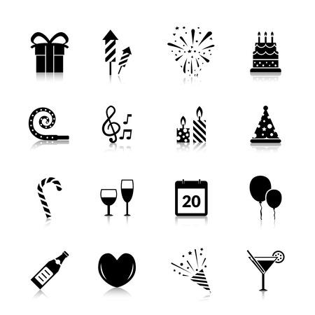 Celebración iconos conjunto negro con fuegos artificiales aislados caja de regalo torta ilustración vectorial