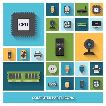 computer cpu: Computer parts decorative icons set with processor camera keyboard isolated vector illustration