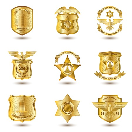 enforcement: Police municipal city law enforcement department badges gold set isolated vector illustration