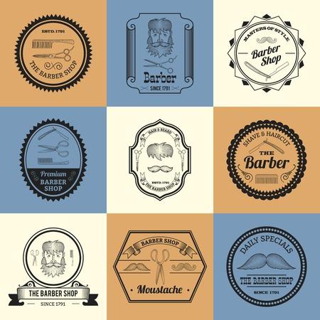 rasoir: Barbier homme Rasoir Toilettage logos berlines mis isol�e illustration vectorielle