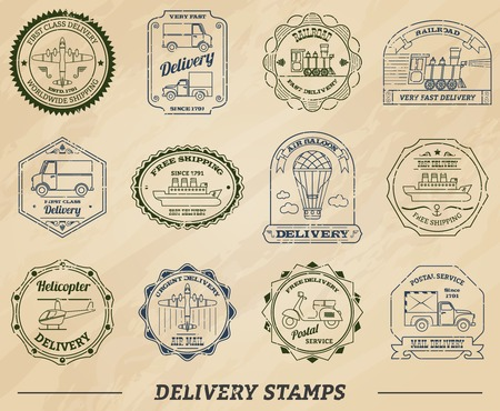 commercial van: Delivery and shipping stamps set on paper isolated vector illustration