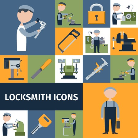 metal worker: Locksmith repairman metal worker master decorative icons set isolated vector illustration Illustration