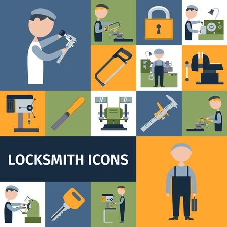 Locksmith repairman metal worker master decorative icons set isolated vector illustration Illustration