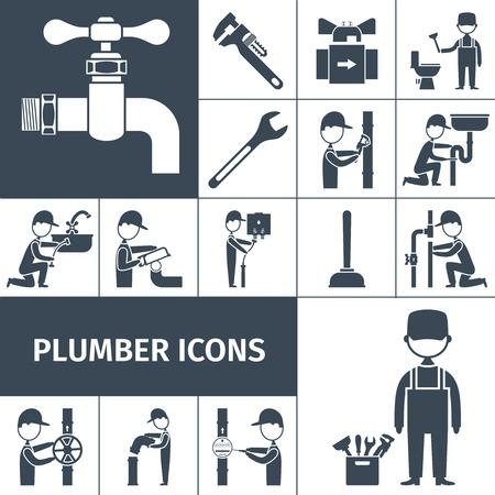 Plumber decorative icons black set with bath shower and water pipeline equipment isolated vector illustration