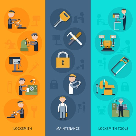 latch: Locksmith banners vertical set with maintenance tools flat elements isolated vector illustration