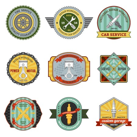 set design: Repair auto repair mechanic transportation workshop retro badges set isolated vector illustration Illustration