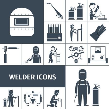 soldador: Iconos decorativos Soldador conjunto negro con aislados equipo trabajador ilustración vectorial
