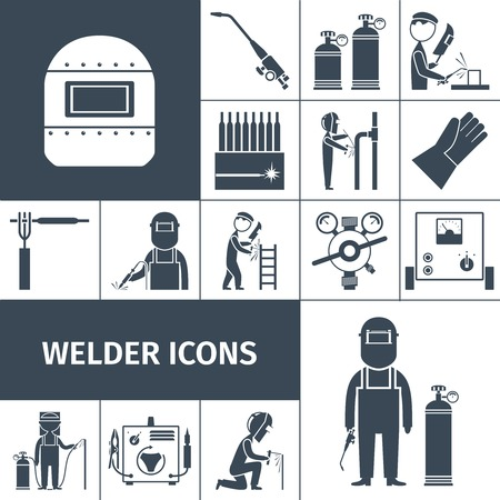 gases: Welder decorative icons black set with worker equipment isolated vector illustration