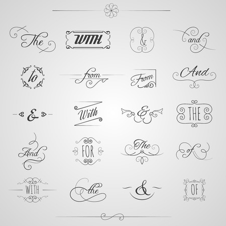 Catchwords and ampersand decorative set with floral elements and swirls isolated vector illustration Illustration