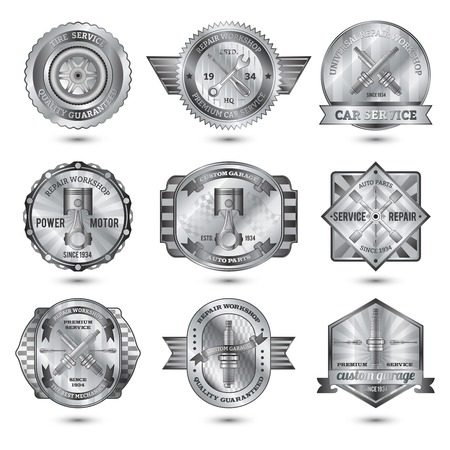 Repair workshop automotive car service metal emblems set isolated vector illustration Vector