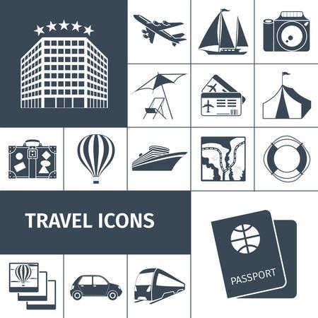 foto carnet: Iconos del recorrido fijados negro con aislados mapa pasaporte c�mara de fotos globo ilustraci�n vectorial