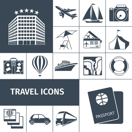 excursions: Travel icons black set with passport map photo camera balloon isolated vector illustration Illustration