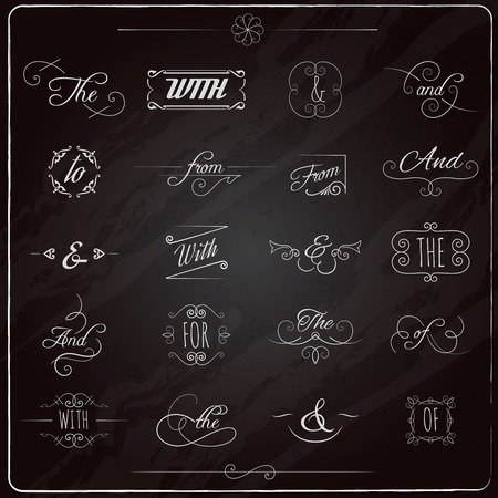 ampersand: Catchwords and ampersand chalkboard calligraphic elements set isolated vector illustration