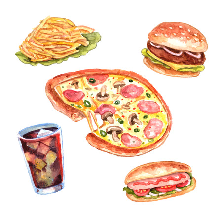 chips and salsa: Fast food restaurant lunch menu with hand drawn pizza and hotdog pictograms composition watercolor vector isolated illustration