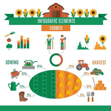 farmer: Farmer land infographics set with sowing and harvest elements and charts vector illustration