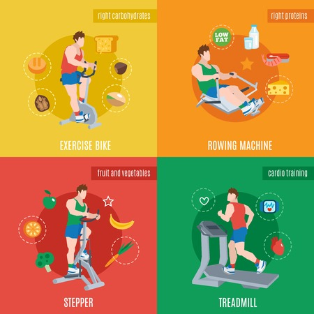 Exercise machines design concept set with bike rowing machine stepper treadmill flat icons isolated vector illustration Illustration