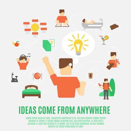 generating: Ideas generating creativity and inspiration concept with flat male figure vector illustration