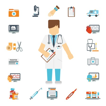 test result: Doctor flat icons decorative set with first aid kit ambulance blood test isolated vector illustration