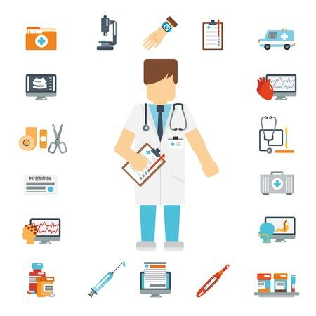 ambulancia: Iconos planos doctor decorativo establecen con botiqu�n de primeros auxilios prueba de sangre ambulancia aislado ilustraci�n vectorial Vectores