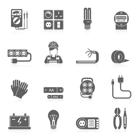 tester: Electricity black icons set with wire cable line voltage tester isolated vector illustration