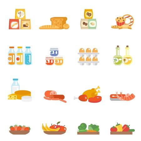 abarrotes: Alimentos Supermercado establece con productos de panader�a huevos filete de carne de leche aislado ilustraci�n vectorial Vectores