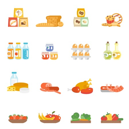 groceries: Supermarket food set with meat steak bakery eggs milk products isolated vector illustration