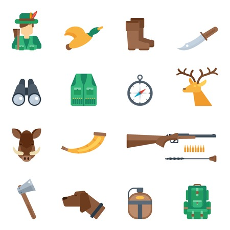 dead dog: Hunting icons flat set with knife hunter duck boots binoculars isolated vector illustration
