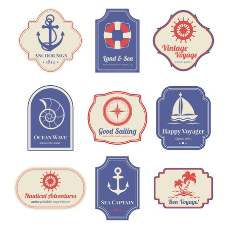nostalgic: Vintage nostalgic nautical adventures voyage travel agency old marine  decorative emblems labels collection  abstract isolated vector illustration